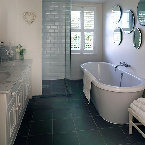 White Bathroom With Grey Slate Floor Decorating