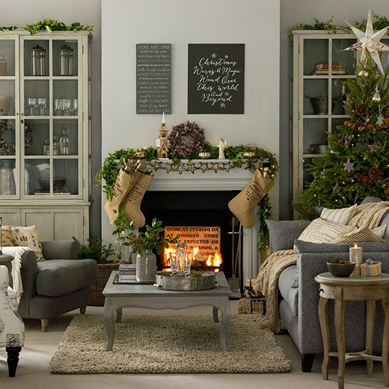Gray Taupe And White Bedroom Curatins: Grey And Taupe Christmas Living Room