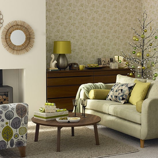 Olive green christmas living room decorating - Green living room ideas decorating ...