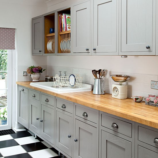 Grey Kitchen Ideas That Are Sophisticated And Stylish: Grey Shaker-style Kitchen With Wooden Worktop