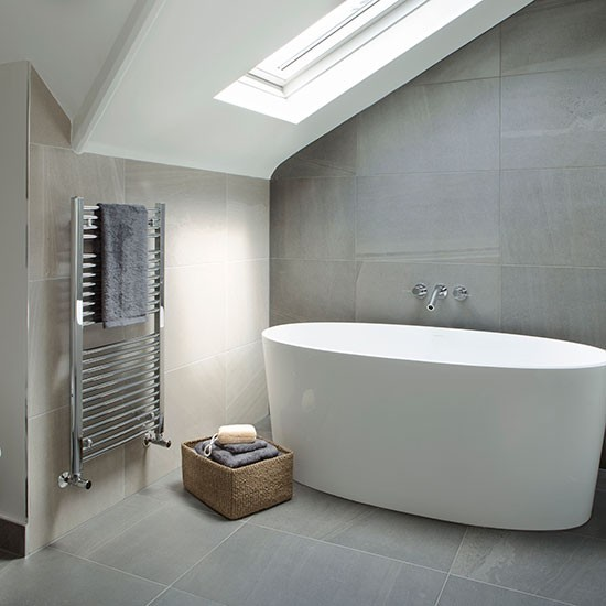 Grey And Cream Tiled Modern Bathroom