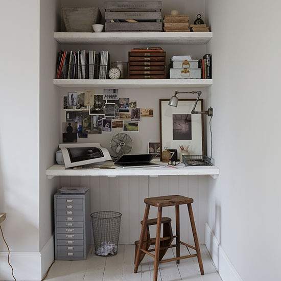 Housetohome Co Uk: Small Pale Grey Home Office