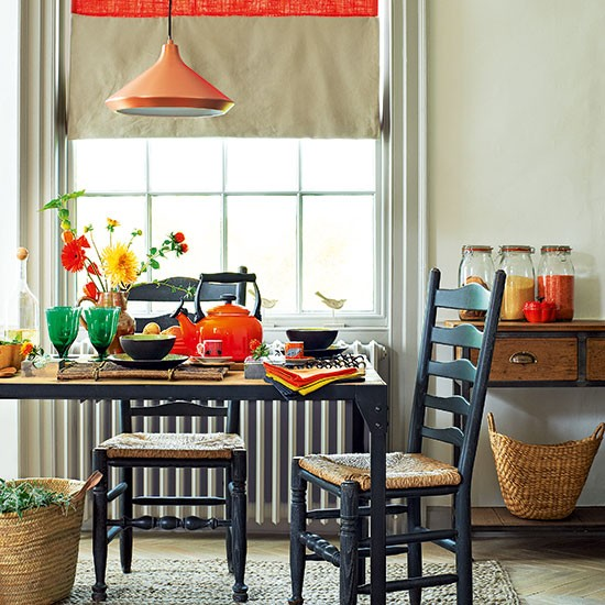 Orange Dining Room: Neutral Dining Room With Orange Accents