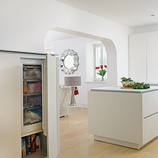 White Oak Kitchen: White Modern Kitchen With Oak Flooring