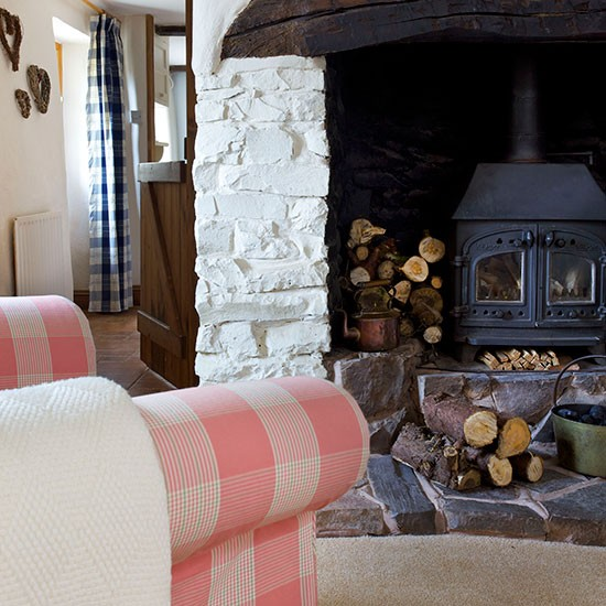 Country living room with woodburner decorating - Living room with wood burning stove ...