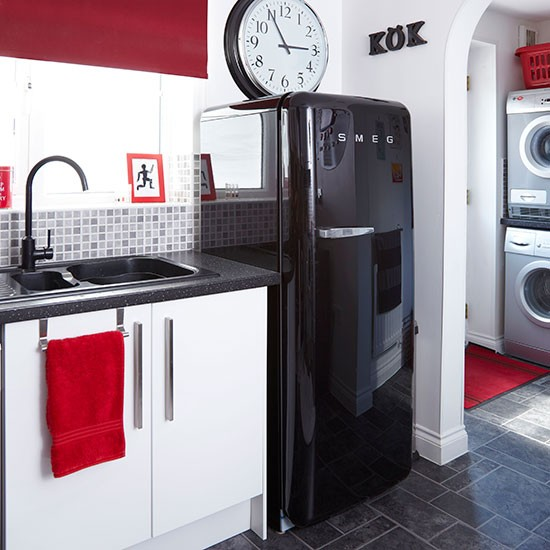 Black Red And White Kitchen