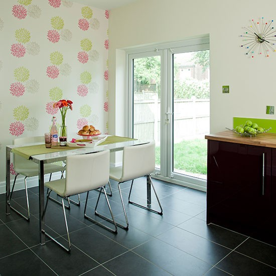 Apple Green And White Dining Room