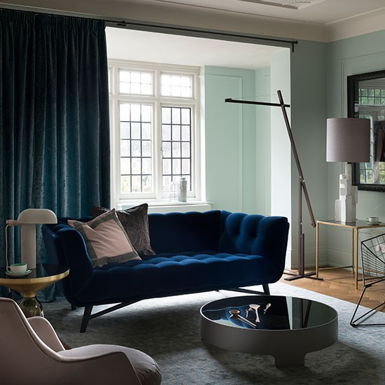 pale green and blue velvet living room decorating. Black Bedroom Furniture Sets. Home Design Ideas