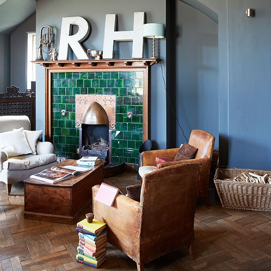 Country Blue Living Room: Blue Living Room With Green Fireplace