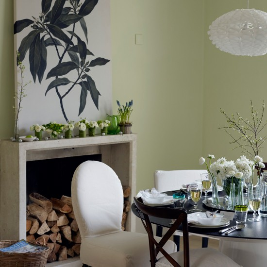 Green Dining Room With Fresh Flowers