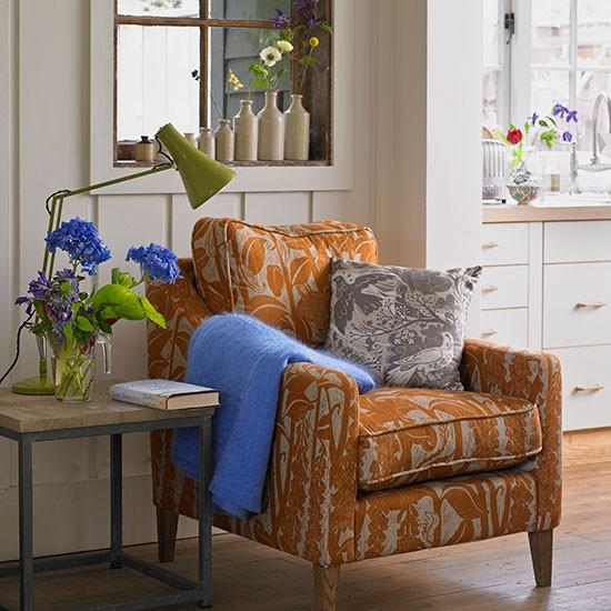 Burnt Orange Dining Room: Cream Living Room With Burnt Orange Armchair