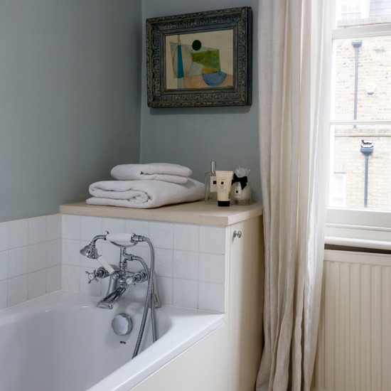 Bathroom with storage behind the bath small space - Bathroom ideas photo gallery small spaces ...