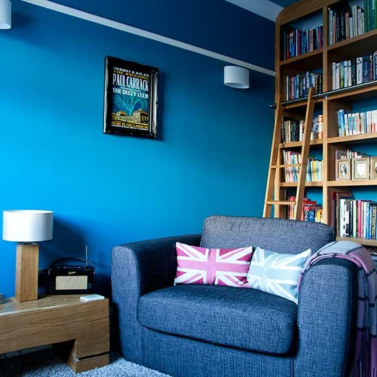 Family Room Storage Ideas: Library-style Shelving In Blue Living Room