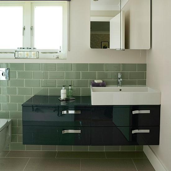 Sage Green Bathroom With Sleek Vanity Unit Decorating