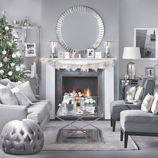 Gray Home Design Ideas: Silver And Grey Christmas Living Room
