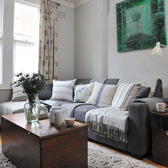 Pale Grey Traditional Living Room
