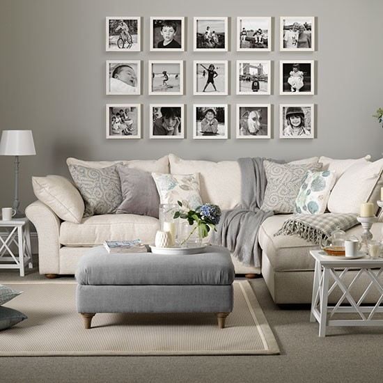 Gray Taupe And White Bedroom Curatins: Grey And Taupe Living Room With Photo Display