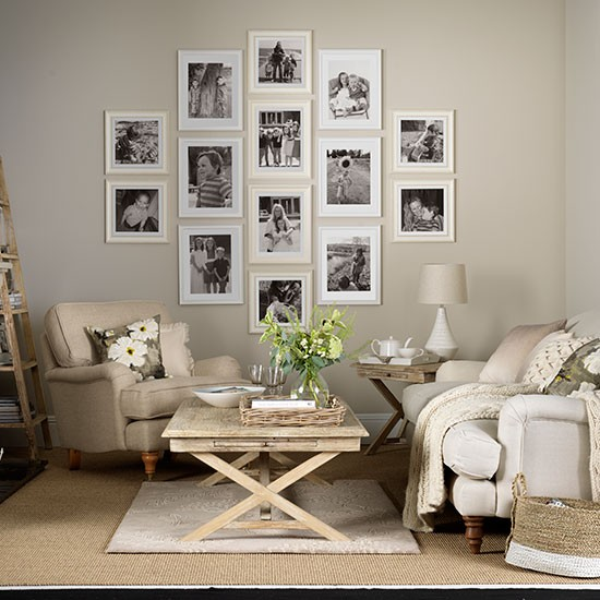 Warm Living Room Ideas: Neutral Living Room With Photo Display