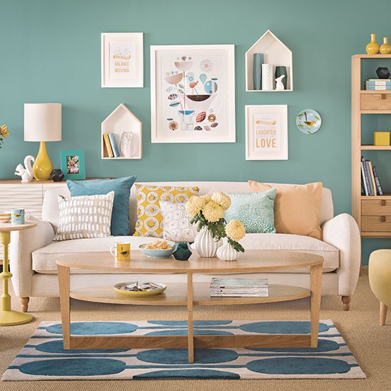 Teal Blue And Oak Living Room