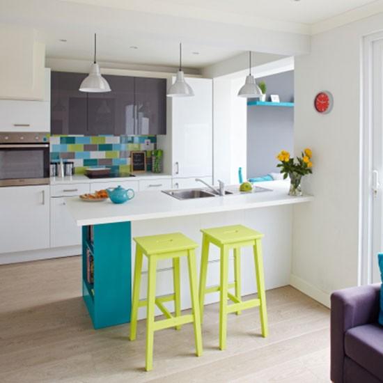 Turquoise Kitchen Decor: White Kitchen With Citrus Accents
