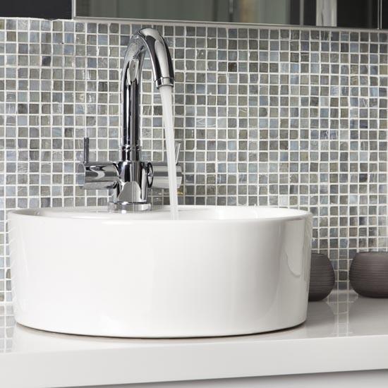 Mosaic Tiled Splashback Makeover Glamorous Grey