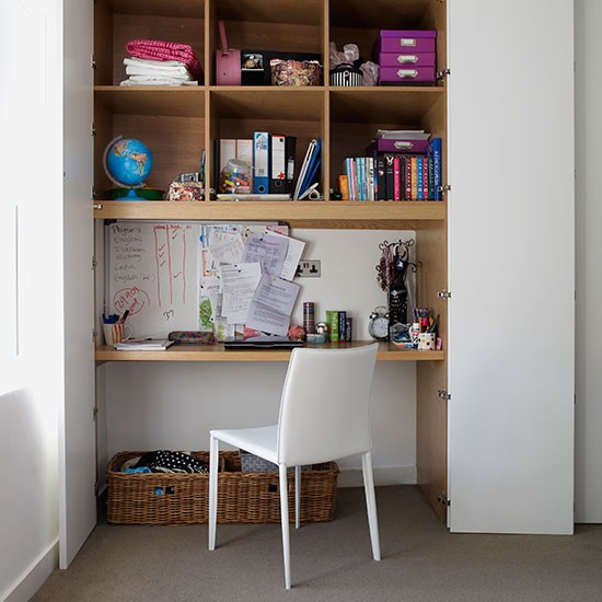 Home Office With Alcove Desk Shelving And Doors Modern