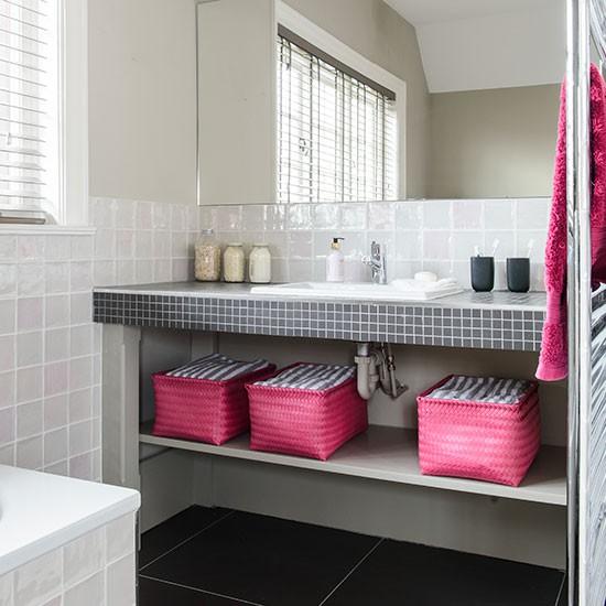 White Bathroom With Pink And Black Accents Decorating