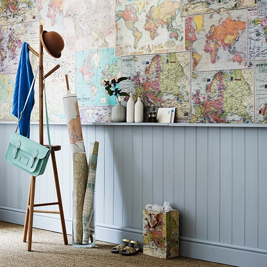 Decorate A Room Adding Finishing Touches: Hall Wall Lined With Map Giftwrap