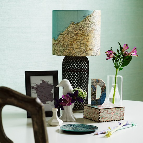 Decorate A Room Adding Finishing Touches: Dining Table Lamp With Map Shade