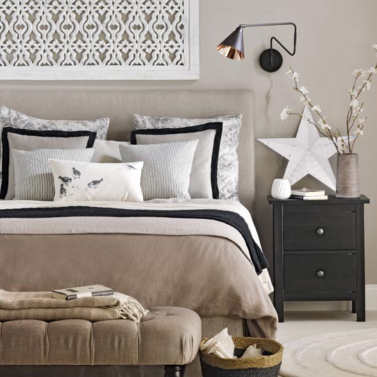 Neutral Bedroom With Black Accents