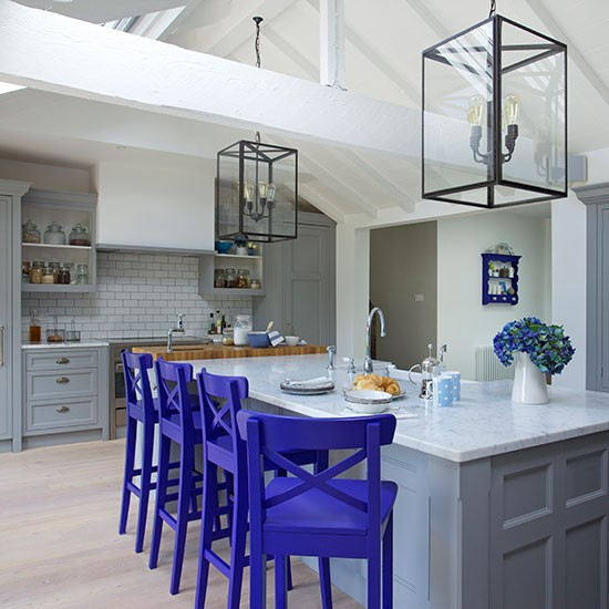 Country Style Kitchens With Cobalt Blue Cabinets