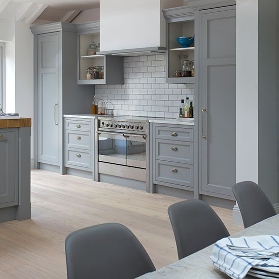 Shaker Cabinets Kitchen Designs: Grey Shaker-style Kitchen With Range Cooker