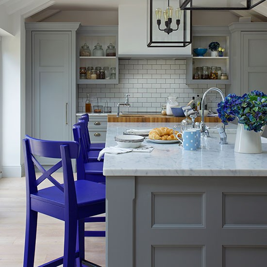 Kitchen Island Accessories: Traditional Grey And Blue Shaker Kitchen