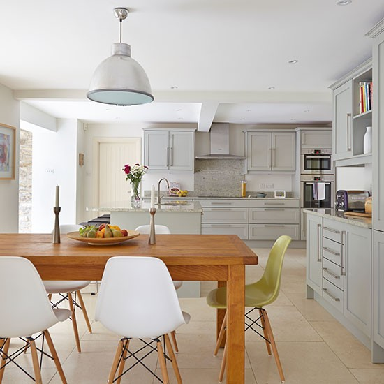 Colour For A Small Open Plan Kitchens: Open-plan Grey Kitchen Diner