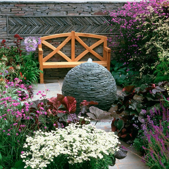 Simple Water Features For The Garden: Garden Corner With Granite Water Feature