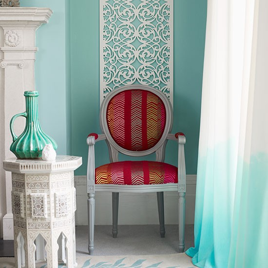 Teal Dining Room: Teal Living Room With Ombre Curtain