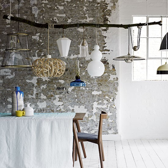 Modern Rustic Dining Room With Pendant Lights