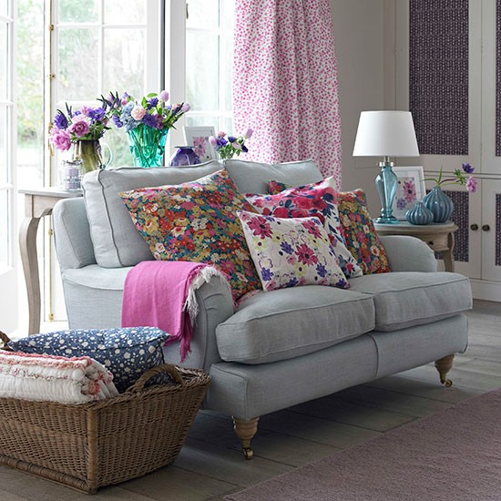 Living Decor: Floral Living Room With French Windows