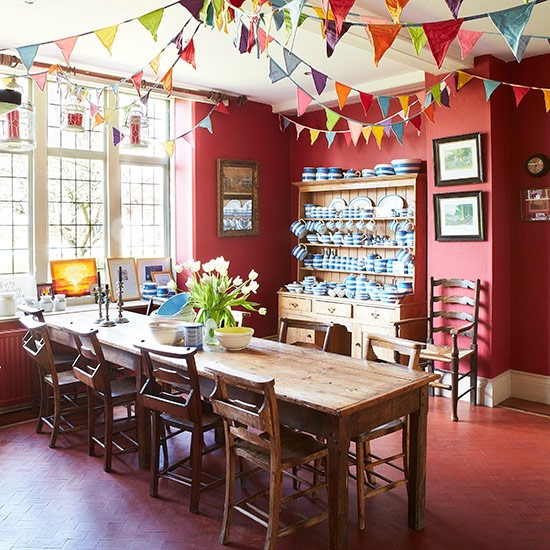 Cheerful red dining room with bunting | Country dining ...