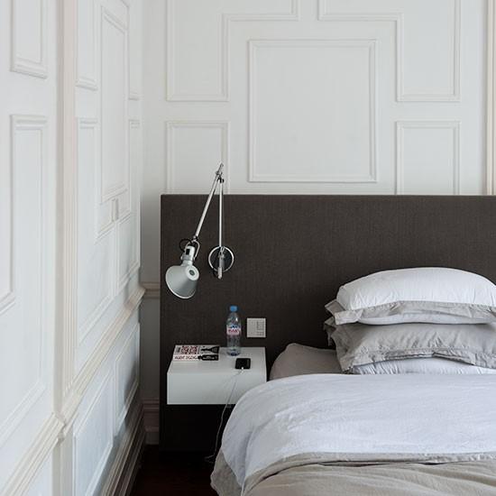 Modern White Headboard: Modern White Bedroom With Large Headboard