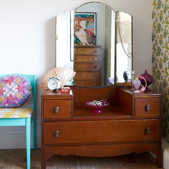 Retro Dressing Table With Drawer Storage
