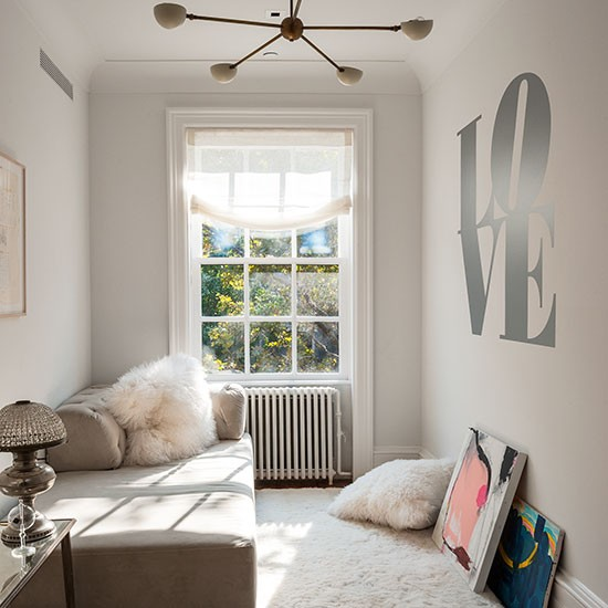 White Bedroom With 'love' Wall Stencil