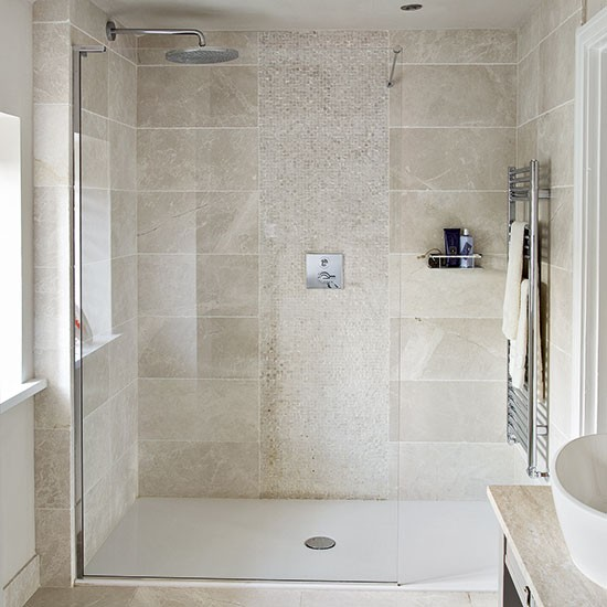 Bathroom Tile Ideas: Neutral Stone Tiled Shower Room
