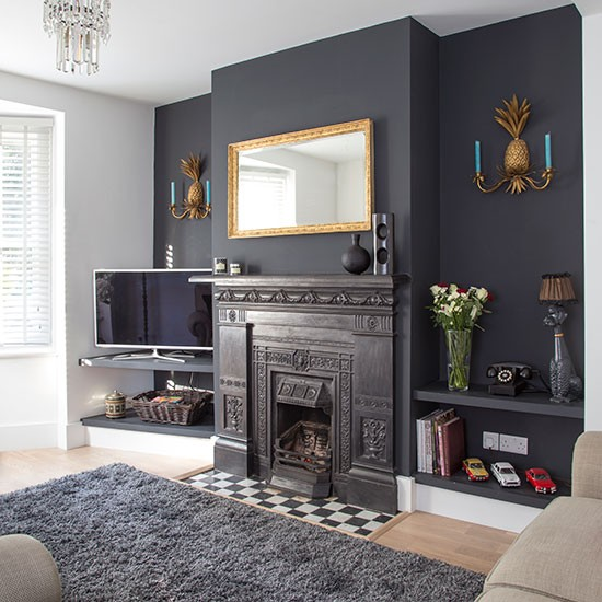 Traditional living room with grey painted feature wall - Feature wall ideas living room wallpaper ...