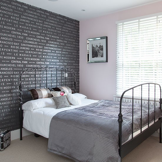Bedroom With Black Motif Wallpaper