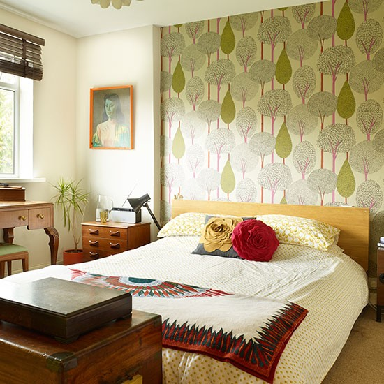 Green Bedroom With Retro Furniture