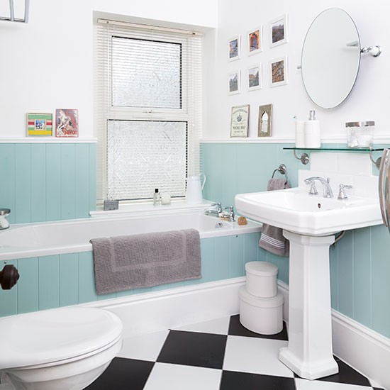 White Bathroom With Duck-egg Blue Panelling