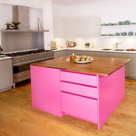 Painted Kitchen Island Ideas: Vivid Pink Painted Kitchen Island
