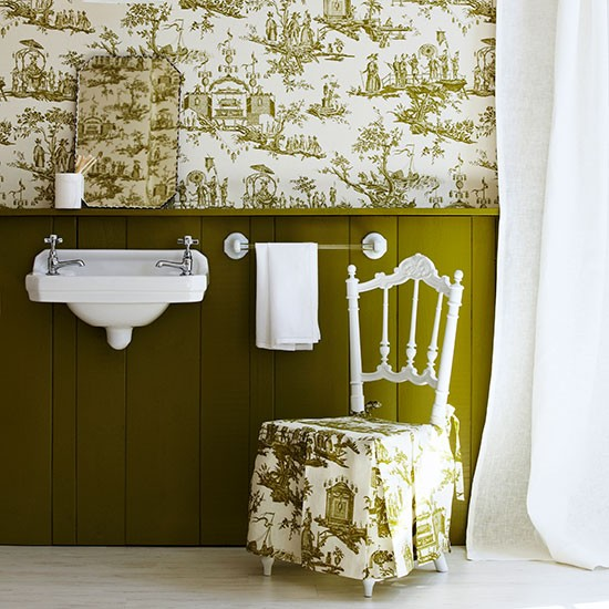 Country Toile Bathroom In Olive Green