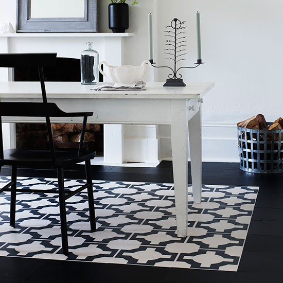 Dining Room With Black And White Rug Effect Flooring